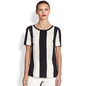 Akris Punto Striped Silk Short Sleeve Top